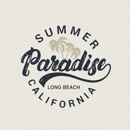 miami south beach: Summer paradise hand written lettering with palms illustration. California long beach. Vintage tee print. Grunge texture. Light background. Vector illustration. Illustration
