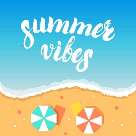 vibes: Summer vibes hand written lettering on a sea beach background. Brush texture. Summer vacation, travel, holiday. Vector illustration.