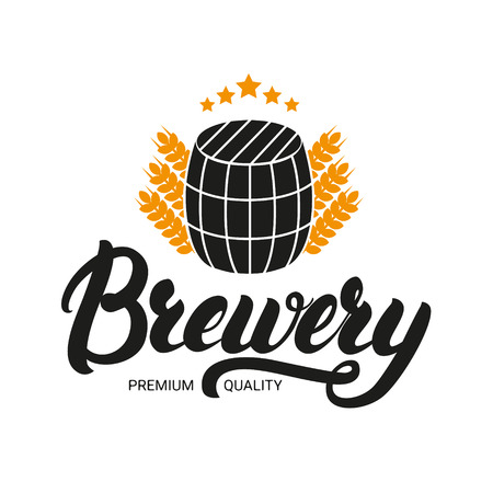 brewery: Brewery lettering logo, label, badge with sign of barrel and ears of wheat. Logo design template for beer house, bar, pub, brewing company, brewery. Vector illustration. Illustration