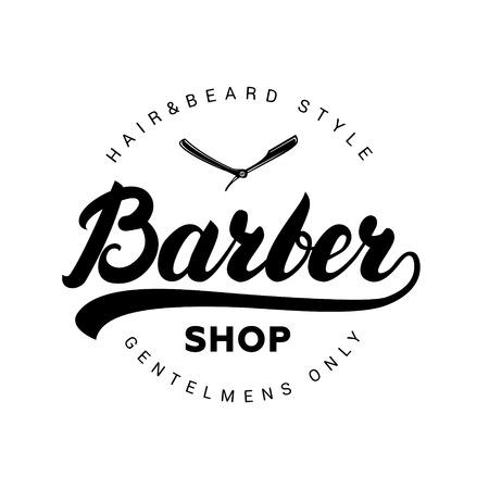 Negozio di barbiere scritta a mano, logo, badge, etichetta. Modello di logo di progettazione. Emblema Vintage su sfondo bianco. Illustrazione vettoriale.