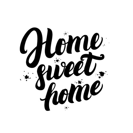 housewarming: Home sweet home calligraphic quote with splash background. Hand written lettering typography for housewarming posters, greeting cards, home decorations. Vector illustration. Illustration