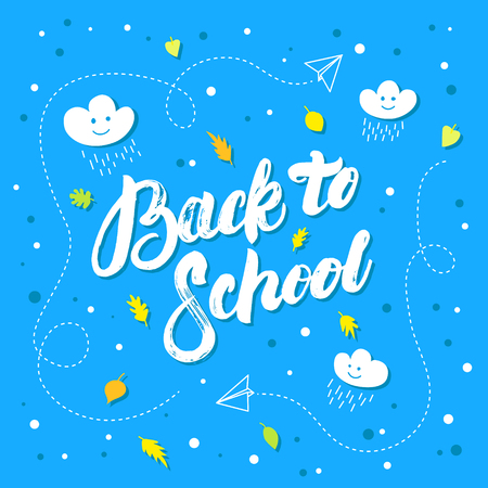 Back to school hand written lettering on blue background. Creativity learning. Motivation poster. Sale background. Vector illustration.