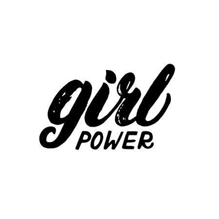 Girl power hand written lettering. Brush texture. Apparel design for tee print. Vector illustration. Illustration