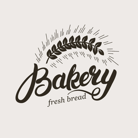 Bakery. Hand written lettering logo with ear of wheat. Typography badge, label, emblem. Template logotype. Vector illustration.