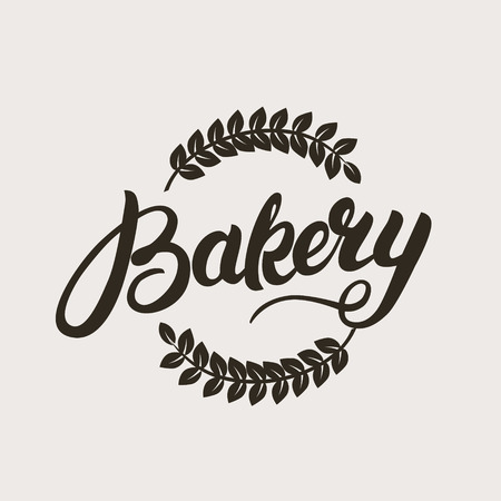 Bakery logo. Handwritten inscription. Hand written calligraphy lettering typography badge, emblem with wheat ear. Vector illustration.