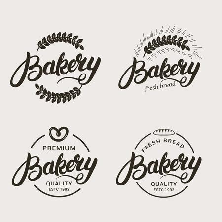 Set of bakery and bread logo. Hand written lettering logotype, badge, label, emblem. Vector illustration.