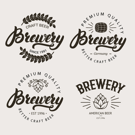 alchoholic drink: Set of vintage brewery badge, label, logo template designs with wooden barrels and hop for beer house, bar, pub, brewing company. Hand written lettering logo. Vector illustration. Illustration