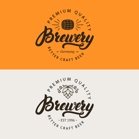 beer house: Brewery hand written lettering logo, label, emblem for beer house, bar, pub, brewing company, brewery, tavern. Vector illustration.
