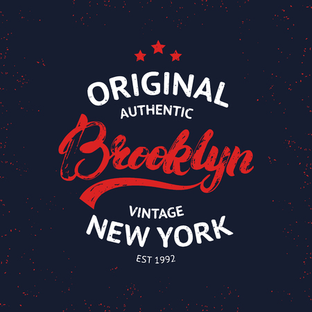 varsity: Vintage Brooklyn label. Quality tee print. Brooklyn hand written lettering calligraphy. Vector illustration.