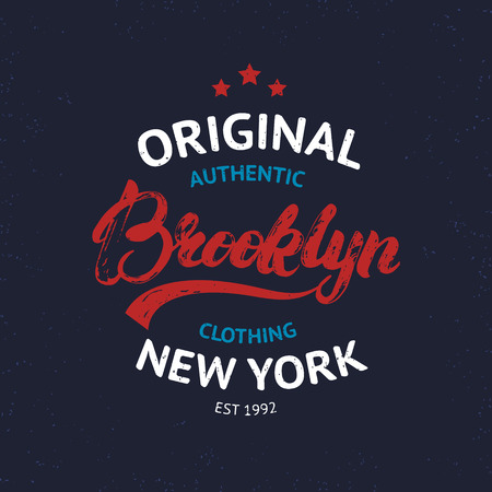 brooklyn: Vintage Brooklyn label. Quality tee print, badge. Brooklyn hand written lettering calligraphy. Vector illustration.