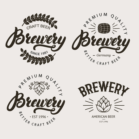 alchoholic drink: Set of vintage brewery badge, label, template designs with wooden barrels and hop for beer house, bar, pub, brewing company. written lettering . illustration.