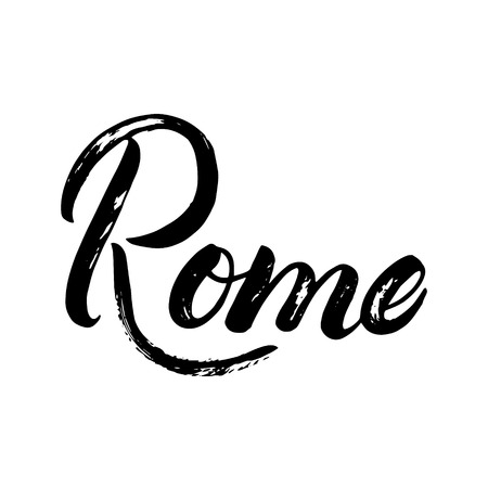 Rome written calligraphy lettering for card, poster, tee print. Brush ink texture. Isolated on white background. illustration. Illustration