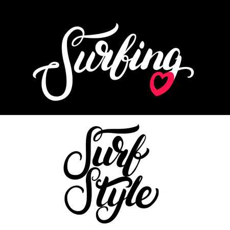girl shirt: Collection of two surf tee print for surf girl. Surfing, Surf Style written calligraphy lettering. Isolated on white background. illustration. Stock Photo