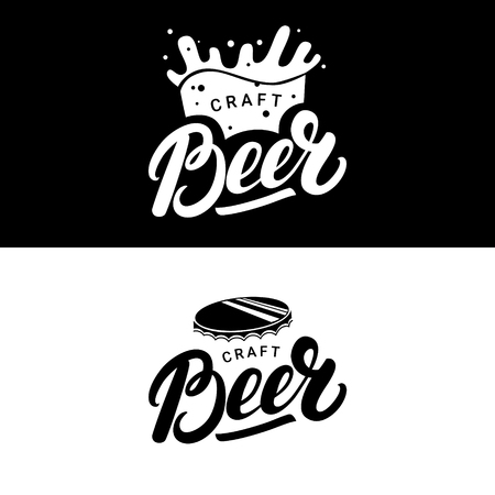 beerhouse: Set of beer hand written lettering logos, labels, badges for beerhouse, brewing company, pub, bar. Modern brush calligraphy and design elements. Vector illustration. Illustration
