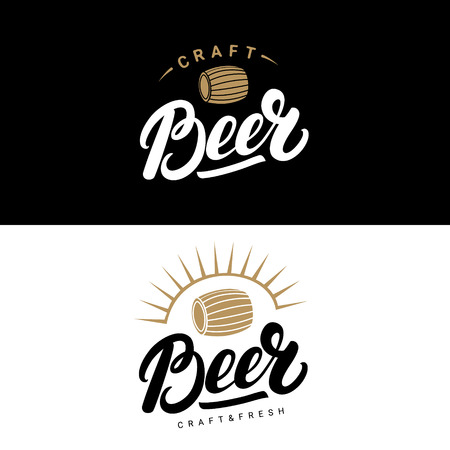 Set of beer hand written lettering logos, labels, badges for beerhouse, brewing company, pub, bar. Modern brush calligraphy and design elements. Vector illustration. Illustration