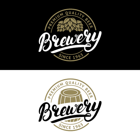 Set of Brewery hand written lettering logo, label, badge template with hop and wooden barrel for beer house, bar, pub, brewing company, tavern. Vintage style. Vector illustration. Ilustrace