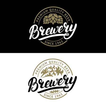 Set of Brewery hand written lettering logo, label, badge template with hop and wooden barrel for beer house, bar, pub, brewing company, tavern. Vintage style. Vector illustration. Illusztráció