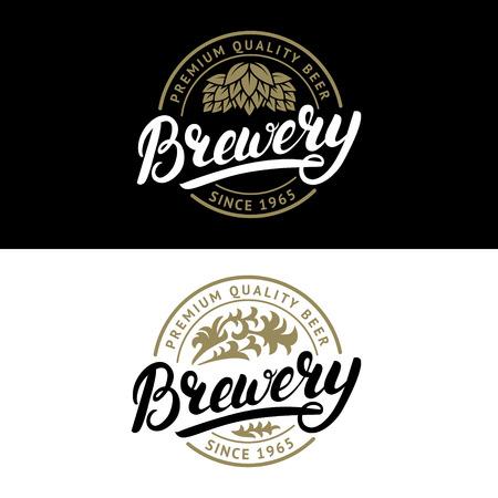 Set of Brewery hand written lettering logo, label, badge template with hop and wooden barrel for beer house, bar, pub, brewing company, tavern. Vintage style. Vector illustration. Ilustração