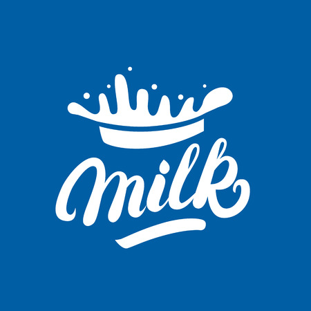 creamery: Milk hand written lettering logo, label or badge. Design elements with splashes for grocery, agriculture store, packaging and advertising. Vector illustration. Illustration