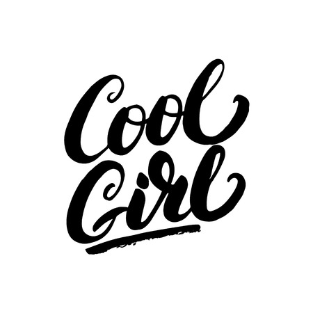 cool girl: Cool girl hand written lettering. Modern brush calligraphy for greeting card, tee print. Apparel design. Isolated on white background. Vector illustration. Illustration