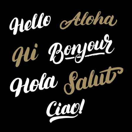 hola: Set of greeting words in different languages. Hello, hi, hola, ciao, bonjour, aloha, salut. Modern brush calligraphy. Vector illustration.