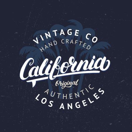 Californië Handgeschreven Letters Met Palmen Achtergrond Tee Kleding Modeontwerp Vintage Stijl Grunge Textuur Vector Illustratie