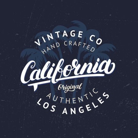 americana: California hand written lettering with palms background. Tee apparel fashion design. Vintage style. Grunge texture. Vector illustration.