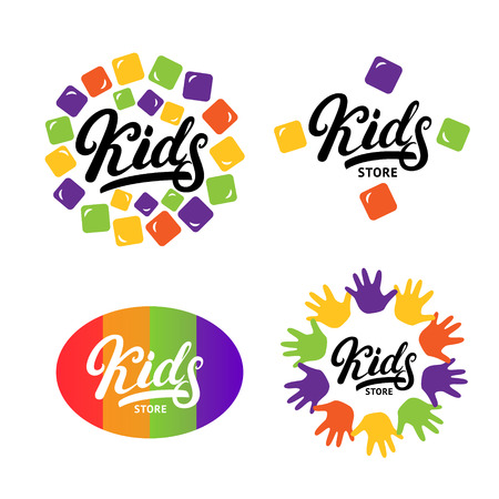 Kids hand written lettering logo, label, bage, emblem. Colorful logotype. Isolated on white background. Vector illustration.