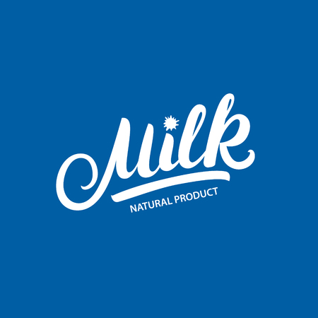 creamery: Milk hand written lettering logo, label or badge Design elements with splashes for grocery, agriculture store, packaging and advertising Vector illustration Illustration