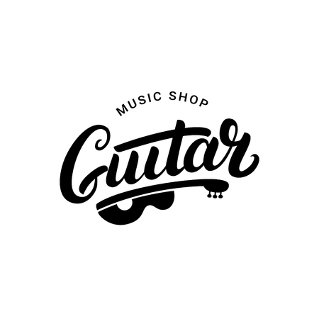 Guitar music shop hand written lettering logo, emblem, label, badge. Vintage style. Isolated on white background. Vector illustration.