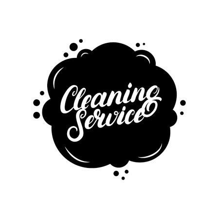 Hand written lettering Cleaning Service logo, label, badge, emblem. Isolated on white background. Vector illustration. Çizim