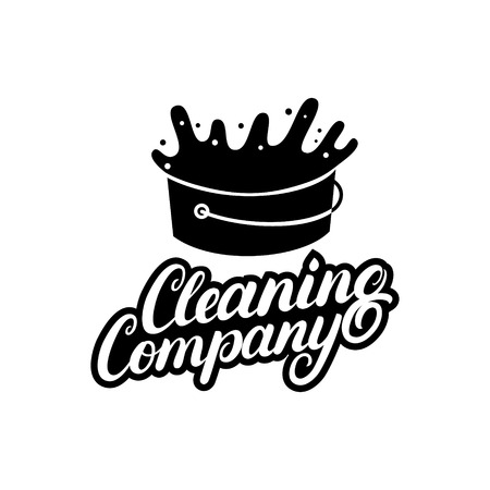 Hand written lettering Cleaning Company logo, label, badge, emblem. Isolated on white background. Vector illustration. Illustration