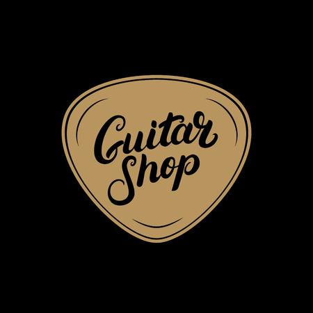 plectrum: Golden Guitar shop hand written lettering logo, emblem, label, badge with plectrum. Vintage style. Isolated on black background. Vector illustration.