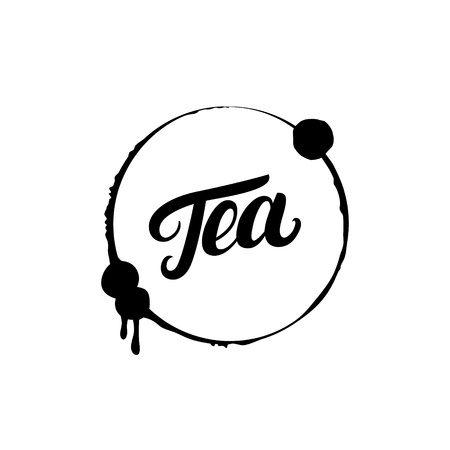 officinalis: Tea hand written lettering logo, label, badge, emblem with splash. Isolated on white background. Vector illustration.