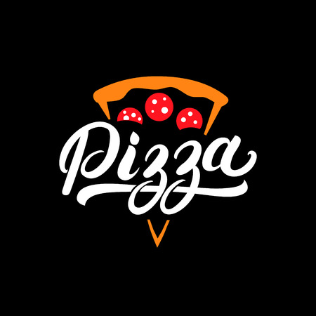 Pizza hand written lettering logo, label, badge. Emblem for fast food restaurant, pizzaria, cafe. Isolated on background. Vector illustration.