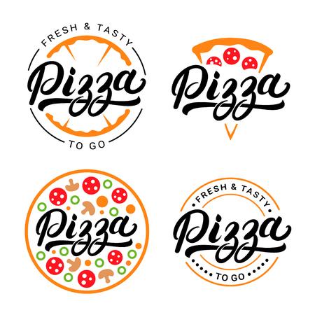 Set of pizza hand written lettering logo, label, badge. Emblem for fast food restaurant, pizzaria, cafe. Isolated on white background. Vector illustration. Ilustração