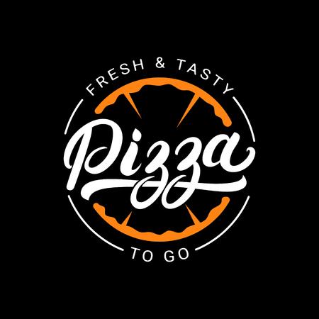 logotipo de la pizza letras de la mano escrita, etiqueta, tarjeta de identificación. Emblema de restaurante de comida rápida, pizzería, cafetería. Aislado en el fondo. Ilustración del vector.