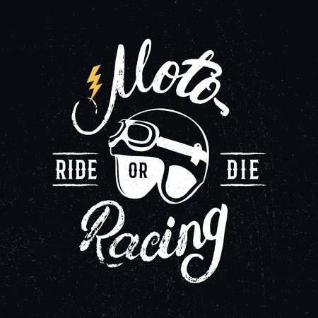 Retro racer helmet and motoracing hand written lettering. Tee shirt graphics. Vintage style. Vector illustration. Illustration
