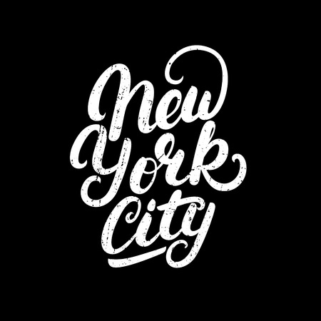 New York City hand written lettering. Modern brush calligraphy. Tee print apparel fashion design. Hand crafted wall decor art poster. Grunge texture. Vector illistration. Illustration