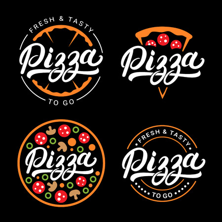 Set of pizza hand written lettering logo, label, badge. Emblem for fast food restaurant, pizzaria, cafe. Isolated on background. Vector illustration.