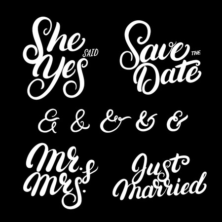 Set Of Hand Written Lettering Wedding Quotes Save The Date New Just Married Quotes