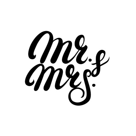 Mr and Mrs hand written lettering. Mister and Missis wedding calligraphy for card, invitations. Isolated on white background. Vector illustration. Vektoros illusztráció