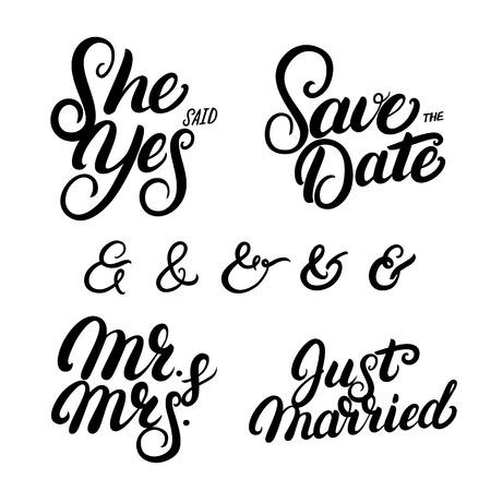 손으로 쓴 레터링 결혼식 따옴표 집합입니다. 날짜를 저장하십시오. 그녀는 그렇다고 대답했다. 그냥 결혼 했어. Ampersands 부부는 청첩장을 주셨습니다. 벡터 일러스트 레이 션.