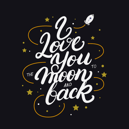 I love you to the moon and back hand written lettering poster. Modern brush calligraphy. Isolated on black background. Vector illustration. Vectores