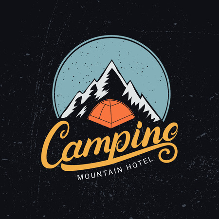Camping hand written lettering logo, label, badge, emblem with mountains and tent. Isolated on white background. Vector illustartion.