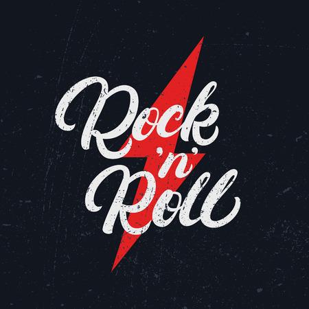 Rock and Roll handgeschreven belettering tekst voor T-shirt afdrukken, banner, poster. Moderne borstelkalligrafie. Grunge textuur. Vector illustratie.