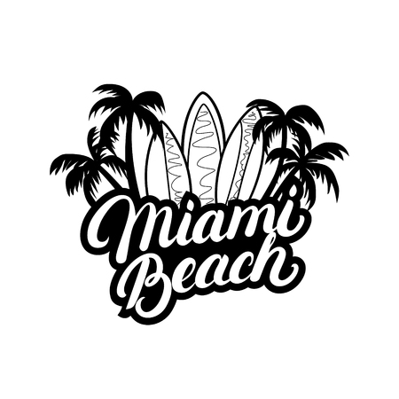 miami south beach: Miami Beach hand written lettering with palms and surfboards for tee print, label, badge. Apparel design. Isolated on white background. Vector illustration.