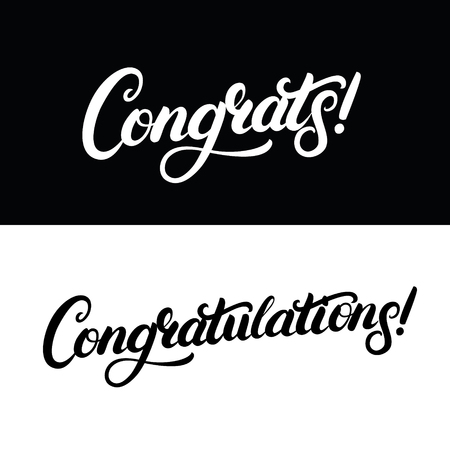 Congrats and Congratulations hand written lettering for card, greeting card, invitation, poster and print. Modern brush calligraphy. Isolated on background. Vector illustration.