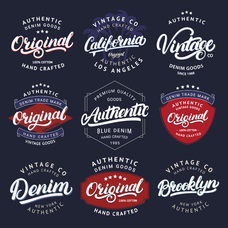 Big set of California, Vintage, Brooklyn, Denim, Original and Authenic hand written lettering for label, badge, tee print. Denim wear. Apparel design. Vintage style. Vector illustration Ilustração
