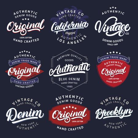 Big set of California, Vintage, Brooklyn, Denim, Original and Authenic hand written lettering for label, badge, tee print. Denim wear. Apparel design. Vintage style. Vector illustration Illustration